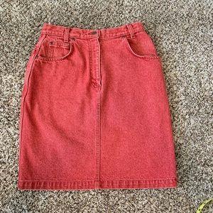 Vintage Land's End Red Jean Skirt